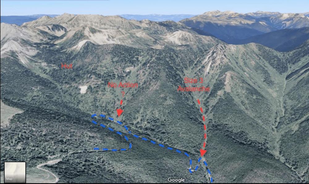 Tunnel Creek Access Road Avalanche Paths بهمن تونل کریک