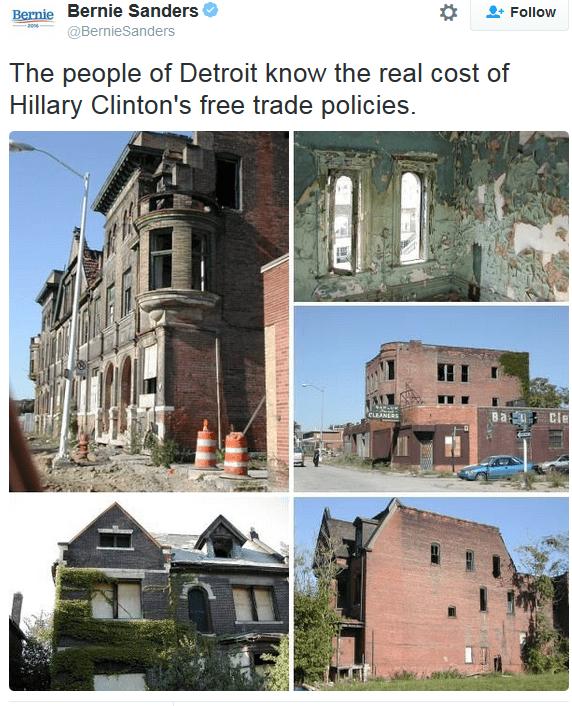 Bernie's twitt on Detroit