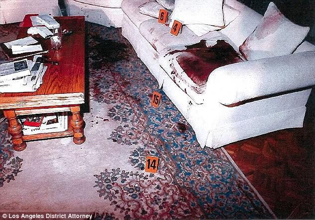 Crime scene: Lyle and Erik murdered their parents, shooting them both to death inside the family's $5million Beverly Hills mansion (above the couch where Jose was shot)