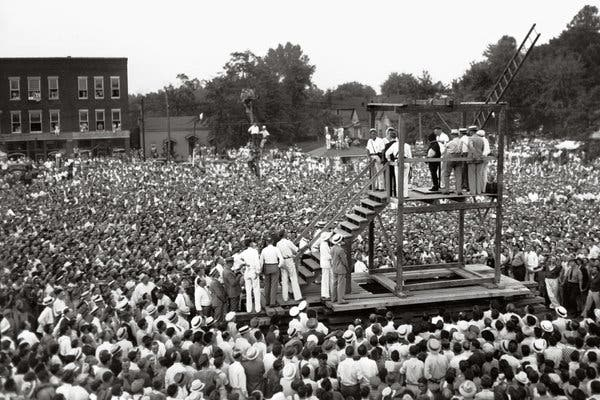 Perhaps 20,000 people gathered to witness the hanging of Rainey Bethea in Owensboro, Ky., in 1936.